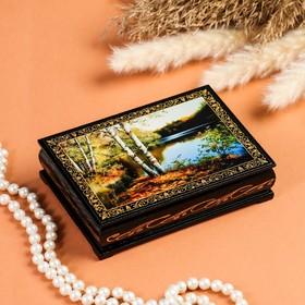 Шкатулка «Берег озера», 10×14 см, лаковая миниатюра