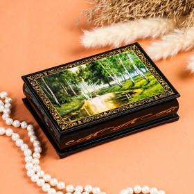 Шкатулка «Аисты в лесу», 10×14 см, лаковая миниатюра