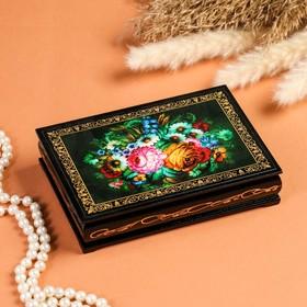 Шкатулка «Цветы», 11×16 см, лаковая миниатюра