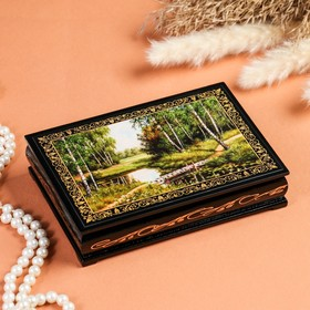 Шкатулка «Мостик через ручей», 11×16 см, лаковая миниатюра
