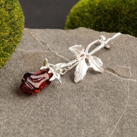 Брошь 'Янтарь' роза 3 листа, цвет коричневый в посеребрении Ош