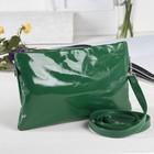 Сумка женская, отдел на молнии, наружный карман, длинный ремень, цвет зелёный