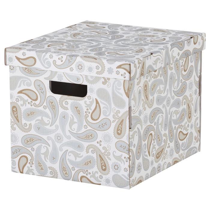 Коробка с крышкой СМЕКА, цвет серый, с рисунком
