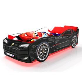 Кровать машина «Турбо», цвет чёрный, подсветка дна и фар