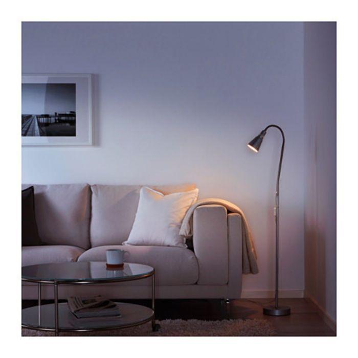 Светильник напольный для чтения, цвет серебристый КВАРТ