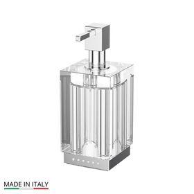 Дозатор жидкого мыла настольный, стекло; хром - стразы, LINEAG