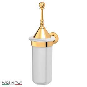 Держатель с туалетным ершом с крышкой, фарфор; золото, 3SC