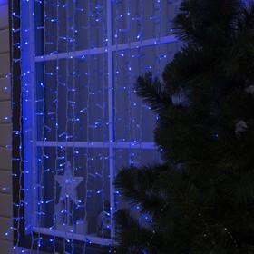 """Гирлянда """"Занавес"""" 2 х 3 м , IP65, УМС, белая нить, 760 LED, свечение синее, фиксинг, 220 В"""
