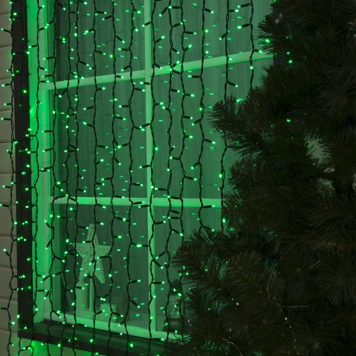 """Гирлянда """"Занавес"""" уличная УМС, 2 х 3 м, каучук Н.Т, LED-760-220V, шнур питания, нить тёмная, свечение зелёное"""