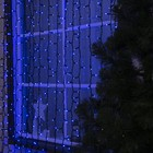 """Гирлянда """"Занавес"""" уличная УМС, 2 х 3 м, каучук Н.Т, LED-760-220V, шнур питания, нить тёмная, свечение синее"""
