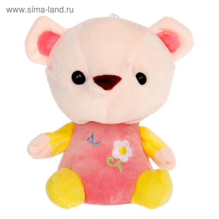 """Мягкая игрушка """"Медведь с вышитым цветком"""", МИКС, 17 см"""