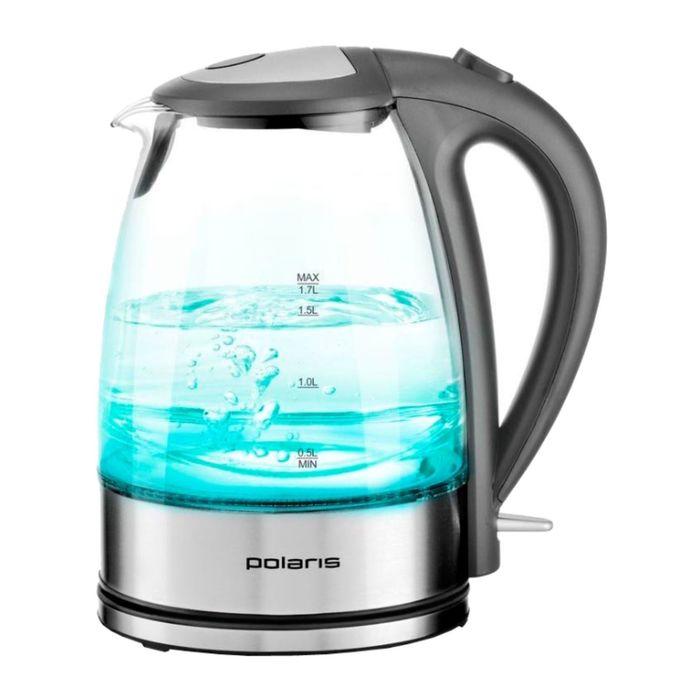 Чайник электрический Polaris PWK1719CGL, 2200 Вт, 1.7 л, стекло, подсветка, серебристый
