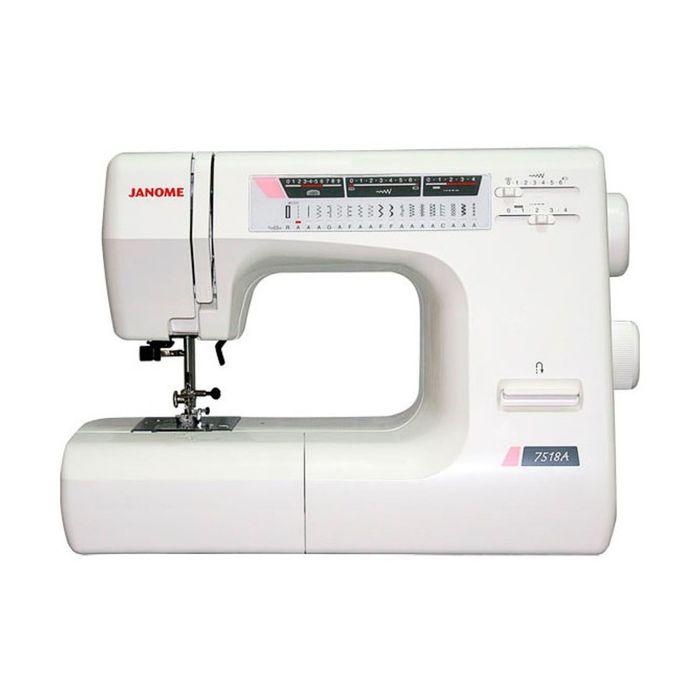 Швейная машина Janome 7518A, 18 опер, обметочная, эластичная, потайная строчка, белый