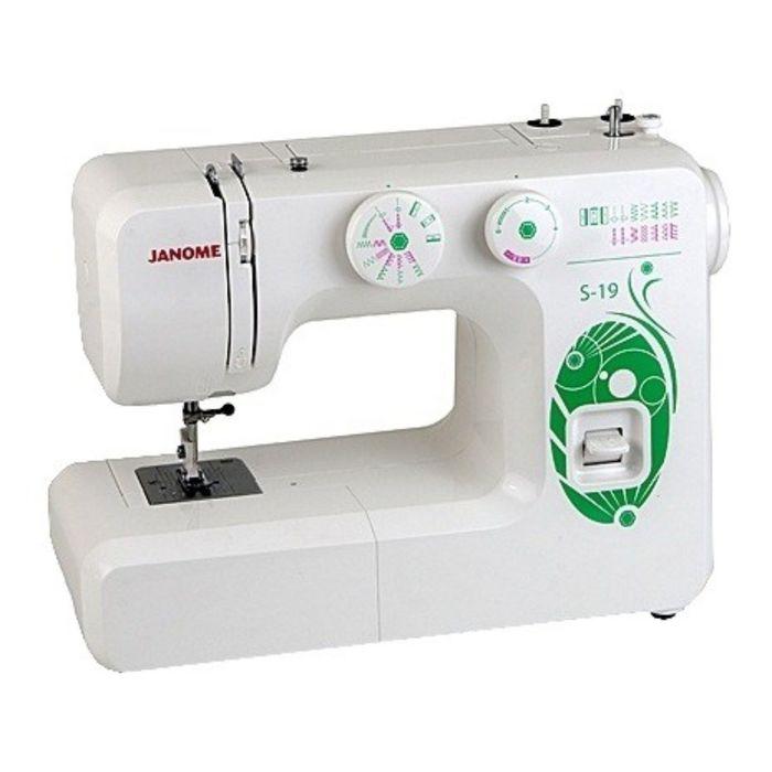 Швейная машина Janome S-19, 17 опер, обметочная, эластичная, потайная строчка, белый