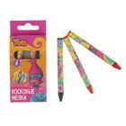 Мелки восковые 6 цветов Trolls длина 90мм, бумажная обертка 455736