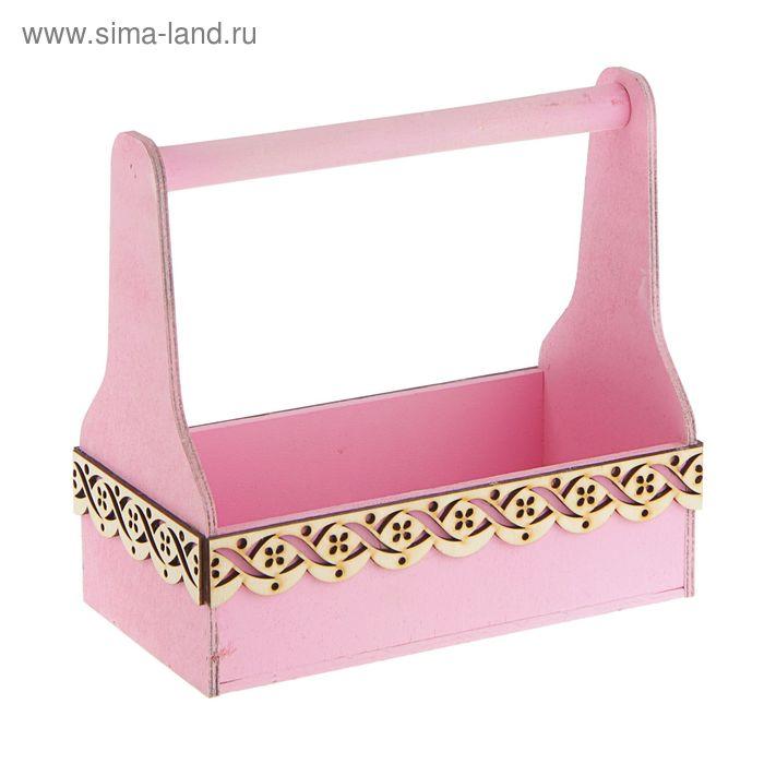 """Кашпо флористическое""""Ажурный"""", розовый, 26х14х25см"""