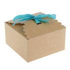 Коробка крафт с декором, 7,5 х 7,5 х 5 см