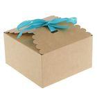 Коробка крафт с декором, 11,5 х 11,5 х 6,5 см