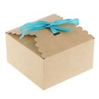 Коробка крафт с декором, 14,5 х 14,5 х 8 см