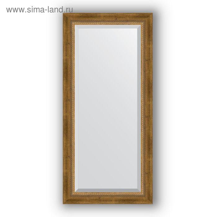 Зеркало с фацетом в багетной раме - состаренное бронза с плетением 70 мм, 53 х 113 см, Evoform
