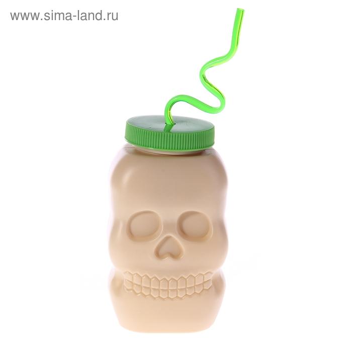 "Бутылка с трубочкой для Хэллоуина ""Череп"""