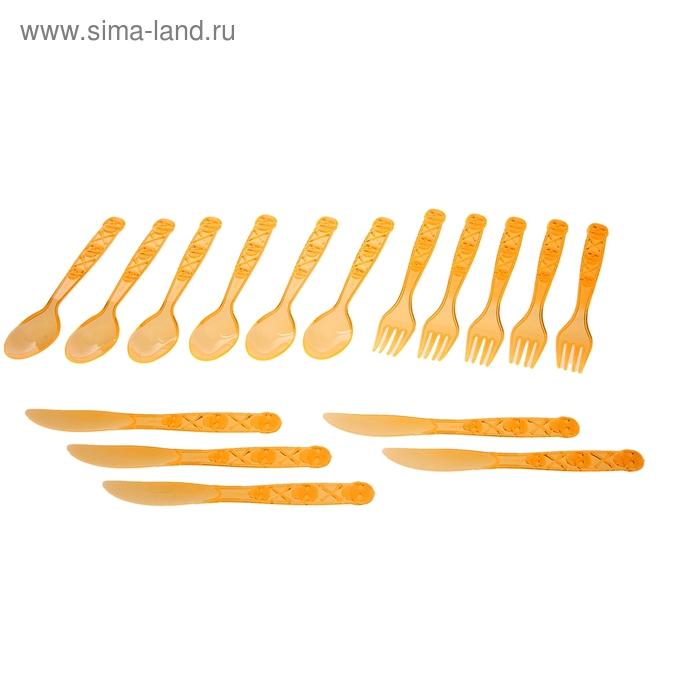 """Столовые приборы """"Хэллоуин"""", вилка, нож, ложка, набор 18 шт., цвет оранжевый"""