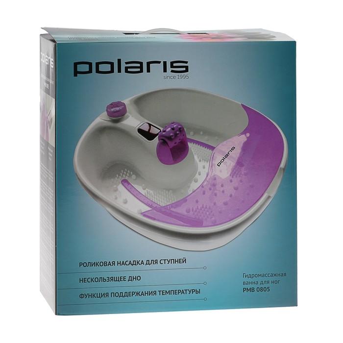 Массажная ванночка Polaris PMB0805, для ног, 80 Вт, бело-фиолетовая