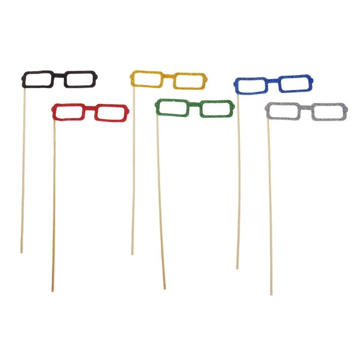 """Аксессуары для фотосессии на палочке очки """"Квадратные"""", цвета МИКС"""