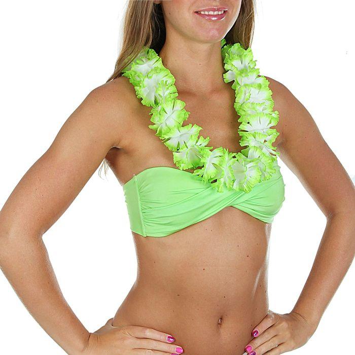 """Гавайское ожерелье """"Цветочки"""", цвет салатовый"""