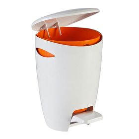 Ведро для мусора с крышкой и педалью 5л, цвет бело-оранжевый