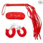 Набор влюбленных 3 предмета: плетка, наручники, повязка, цвет красный