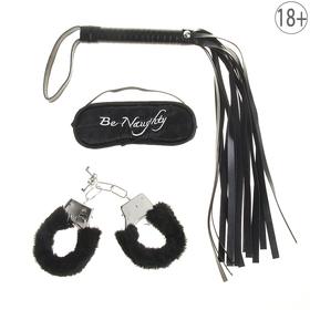 Набор влюбленных, 3 предмета: плетка, наручники, повязка, цвет чёрный