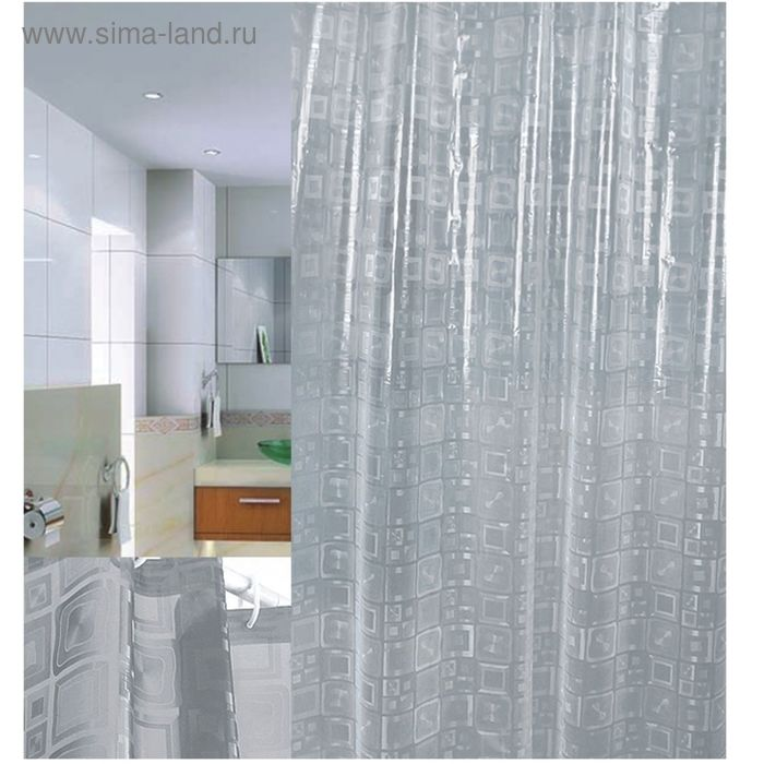 Штора для ванной 180х200 Squares 3D
