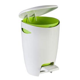 Ведро для мусора с крышкой и педалью 5л, цвет бело-салатовый