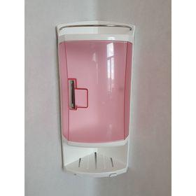Шкафчик угловой для ванной с 2-мя открытыми полками и 1-ой полкой с дверкой, цвет прозрачно-розовый