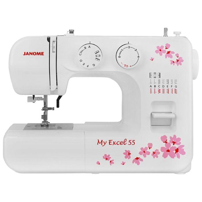 Швейная машина Janome MX 55, 15 операций, обметочная, потайная, эластичная строчка, белый