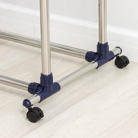 Стойка для одежды телескопическая усиленная Доляна, 2 перекладины, 80(145)×51×90(160) см - фото 4639831
