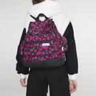 Рюкзак-торба на шнурке, 1 отдел, 3 наружных кармана, цвет чёрный/розовый