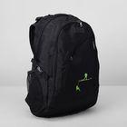 Рюкзак туристический на молнии, 2 отдела, 4 наружных кармана, цвет чёрный