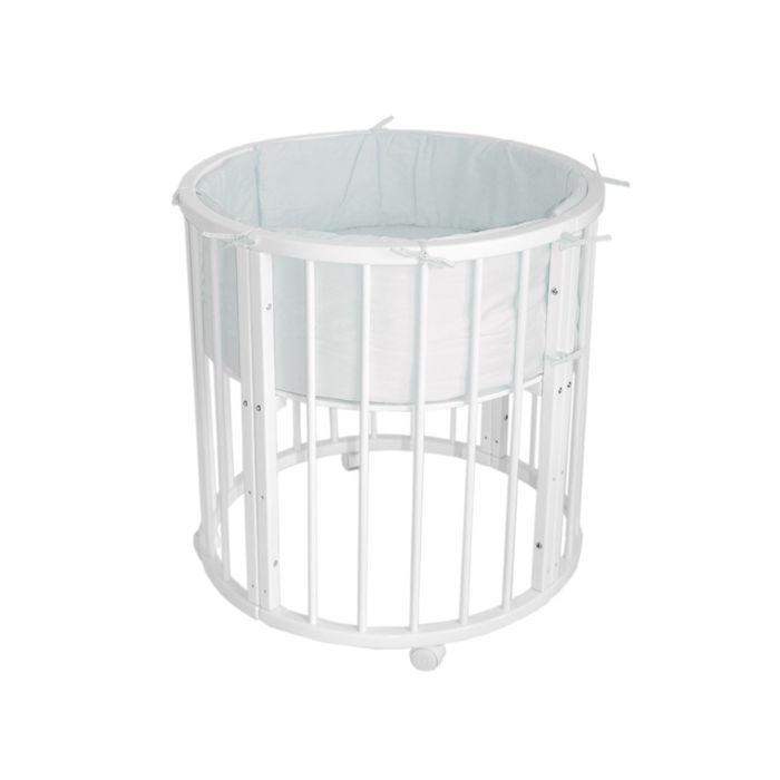 Кроватка-трансформер 6 в 1 MerryHappy круглая/овальная, матовая, цвет белый