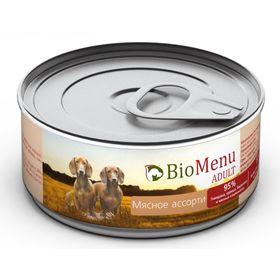 Консервы BioMenu ADULT для собак мясное ассорти 95%-мясо , 100гр