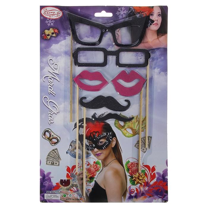 Аксессуары для фотосессии на палочке, 6 предметов: усы 2 шт, губы 2 шт, очки 2 шт