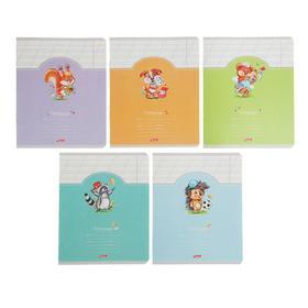 Тетрадь 12 листов в косую линию «Лохматики», картонная обложка, МИКС