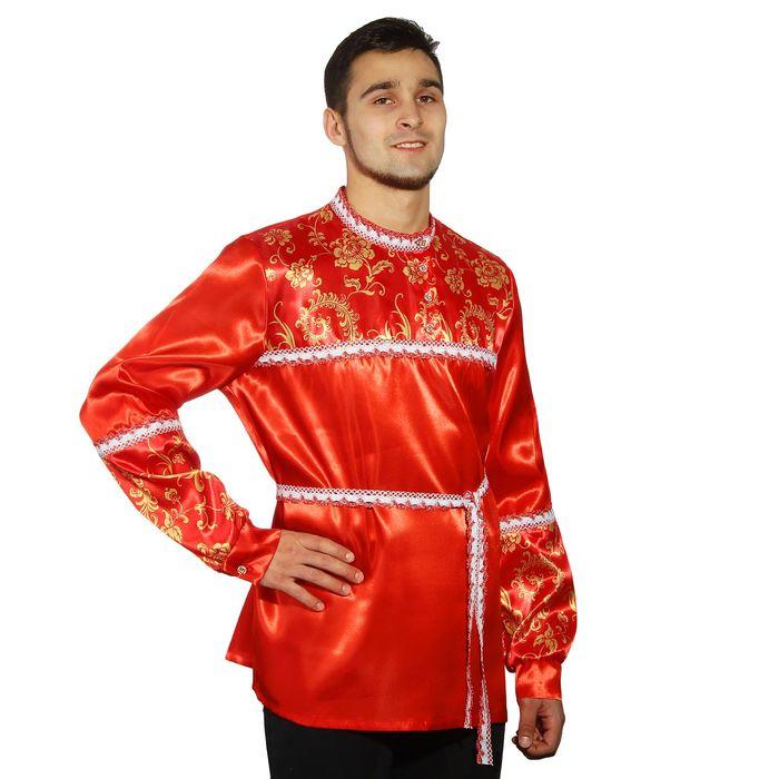 Русская мужская рубаха с кокеткой, цвет красный, р-р 48-50, рост 182 см