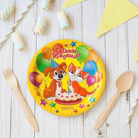 """Plate paper """"happy Birthday!"""", dog and cat, set of 6 PCs, 18 cm"""