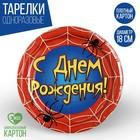 """Тарелка бумажная """"С днем рождения"""" паутина, 18 см"""