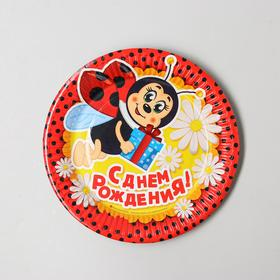 "Plate paper ""happy birthday"" ladybug and chamomile, 18 cm"