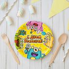 "Plate paper ""happy birthday"" monsters, 18 cm"
