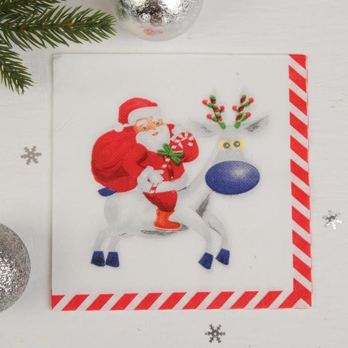 """Салфетки двухслойные """"Дед мороз на олене"""" (набор 20шт)"""