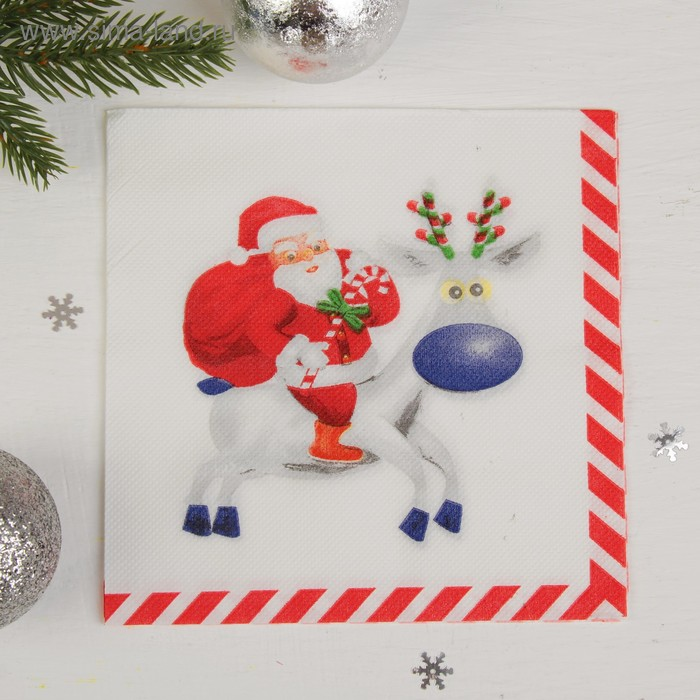 """Double-layer wipes """"Santa on deer"""" (set of 20pcs)"""